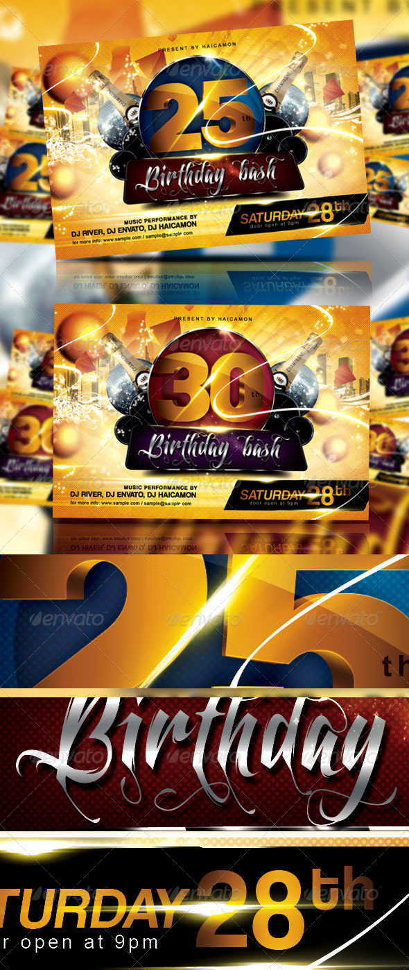 Birthday Bash Party Flyer & Invitation - Events Flyers