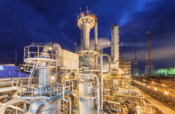 Chemical plant on night time. - Stock Photo - Images