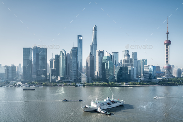 beautiful shanghai cityscape in morning - Stock Photo - Images
