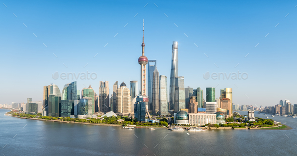 panoramic view of pudong skyline, beautiful shanghai cityscape - Stock Photo - Images