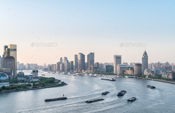 shanghai landscape of huangpu river bend - Stock Photo - Images