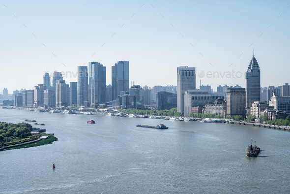 shanghai huangpu river bend landscape  - Stock Photo - Images