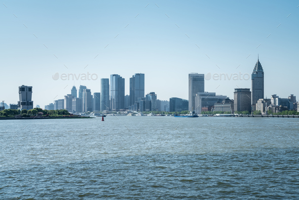 shanghai huangpu river landscape - Stock Photo - Images