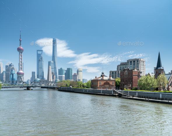 shanghai cityscape of suzhou river - Stock Photo - Images