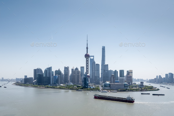 beautiful shanghai cityscape in daytime, pudong skyline and huangpu river - Stock Photo - Images