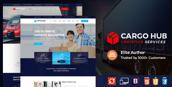 Image of Cargo HUB - Transport HTML Template for Transportation, Logistics and Shipping Companies