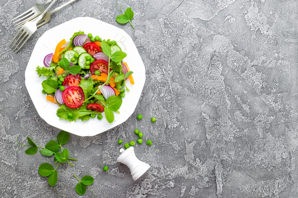 Salad. Fresh vegetable salad - Stock Photo - Images
