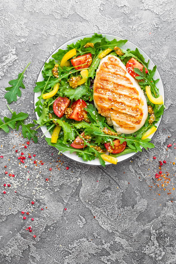 Chicken fillet with fresh vegetable salad - Stock Photo - Images