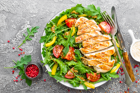 Chicken saladChicken fillet with fresh vegetable salad - Stock Photo - Images