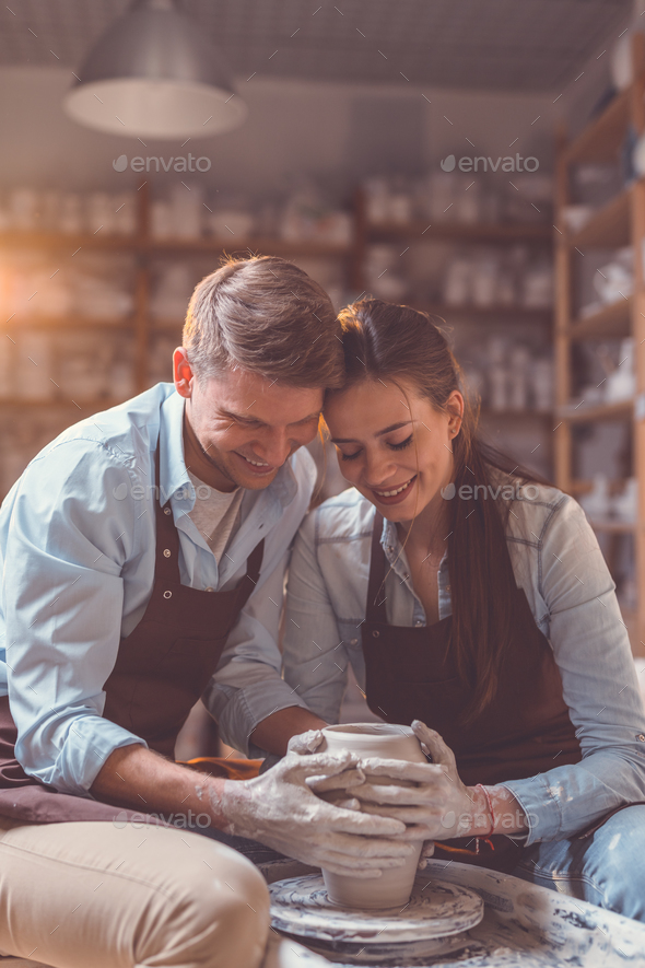 Young couple at artwork indoors - Stock Photo - Images