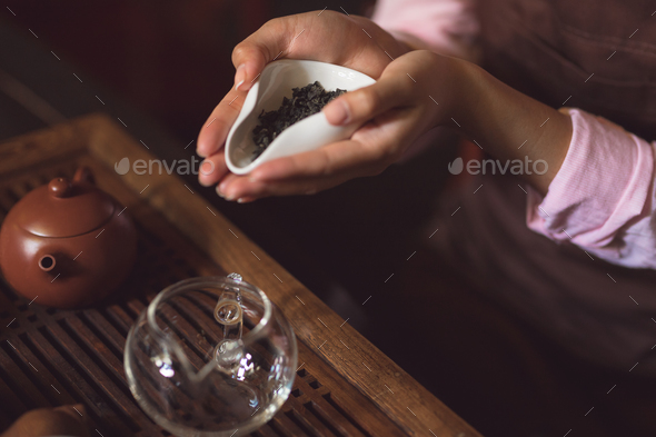 Female hands with green tea - Stock Photo - Images