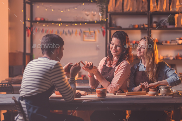 Young people in a master class - Stock Photo - Images