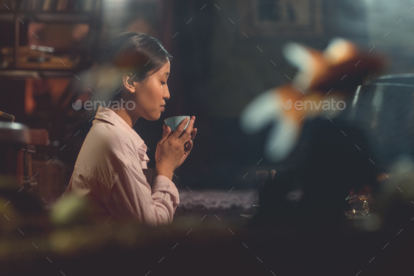 Young asian girl at a tea ceremony - Stock Photo - Images