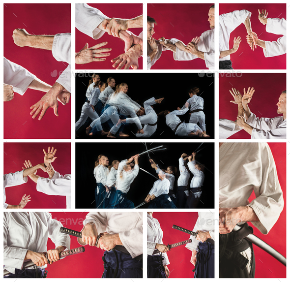 The men and women fighting at Aikido  - Stock Photo - Images