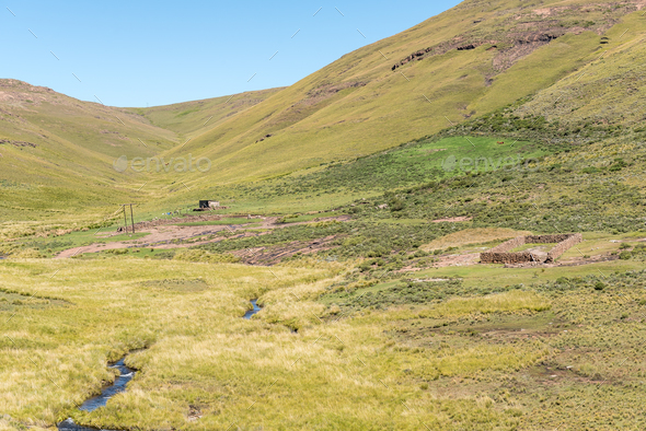 Farm landscape on Naudes Nek Pass - Stock Photo - Images