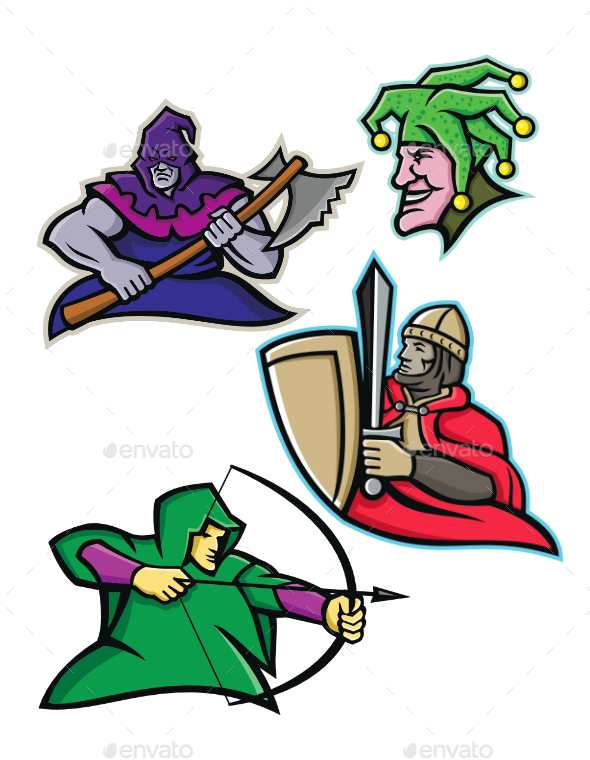 Medieval Court Character Mascot Collection - People Characters