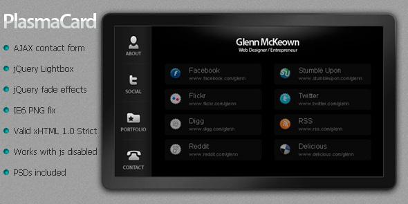 Plasma Card - A Virtual Business Card by GlennMcKeown | ThemeForest