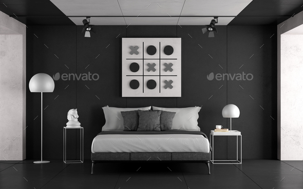 Black and white master bedroom - Stock Photo - Images