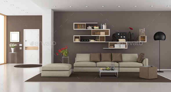 Living room of a modern house - Stock Photo - Images