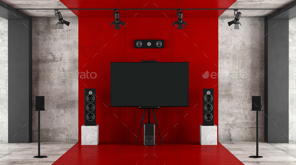 Red and black home cinema system - Stock Photo - Images