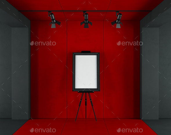 Red and black minimalist art gallery - Stock Photo - Images