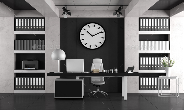 Black and white minimalist office - Stock Photo - Images