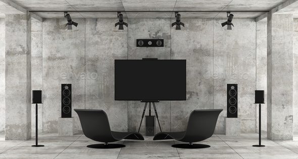 Home cinema system in a concrete room - Stock Photo - Images