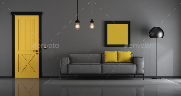 Yellow and gray minimalist living room - Stock Photo - Images