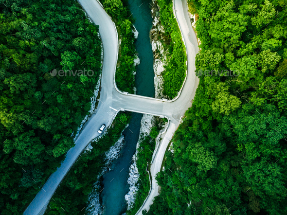Napoleons Bridge over river Soca, Slovenia, aerial drone view - Stock Photo - Images