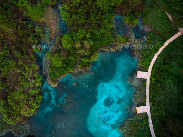 Zelenci Natural Reserve from aerial top down drone view,Slovenia - Stock Photo - Images