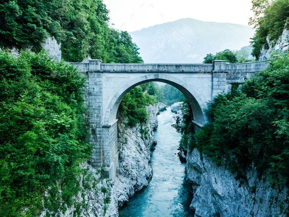Napoleons Bridge over river Soca, Slovenia, aerial drone view - Stock Photo - Images
