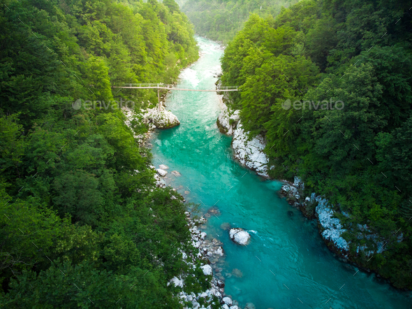 Aerial view over SOca river in Triglav Park, Slovenia - Stock Photo - Images