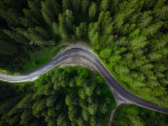 Winding road in forest, aerial drone view, road trip concept - Stock Photo - Images