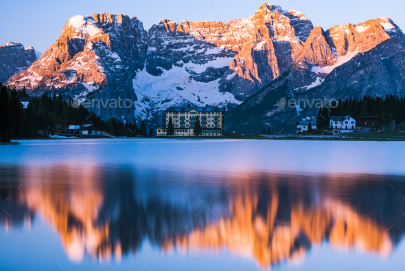 Spectacular sunrise over Misurina Lake in Italy,Dolomites mounta - Stock Photo - Images