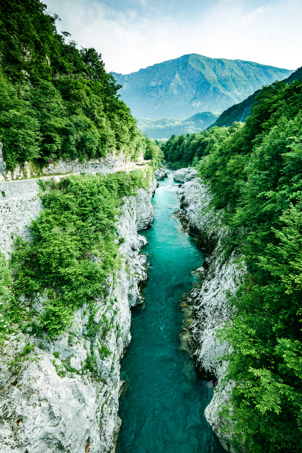 Emerald and blue waters of Soca river, Slovenia - Stock Photo - Images