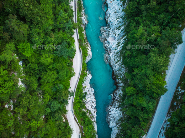 Aerial top down photo of road and Soca river in Slovenia - Stock Photo - Images