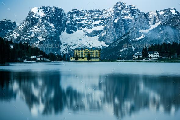 Beautiful desaturated moody image of Misurina Lake,Dolomites,Ita - Stock Photo - Images