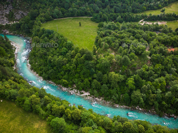 Turquoise Soca river near Kobarit, Slovenia - Stock Photo - Images