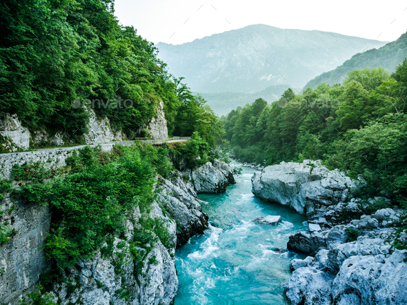 Wild and beautiful Soca river from Napoleons Bridge,Slovenia - Stock Photo - Images