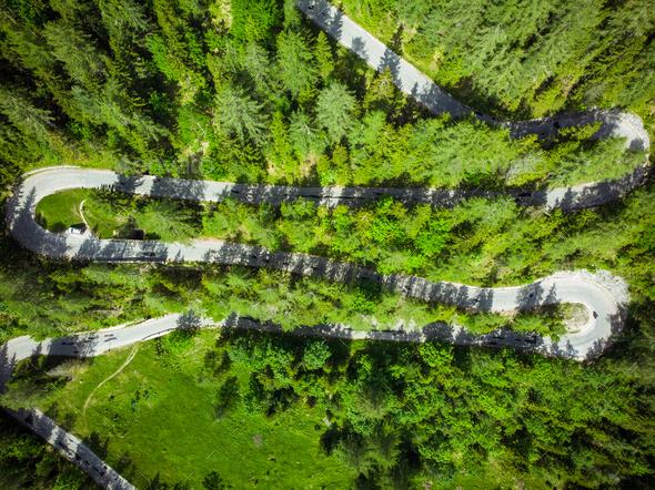 Beautiful scenic serpentine road in Slovenia Alps - Stock Photo - Images