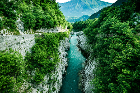 Beautiful water in Soca river,Slovenia - Stock Photo - Images