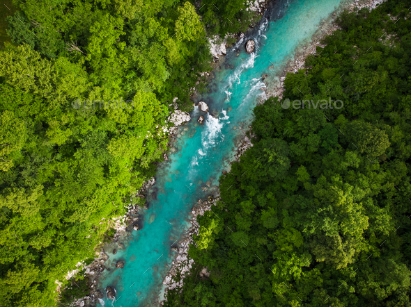 Emerald green Soca river in Slovenia, top down aerial photo - Stock Photo - Images