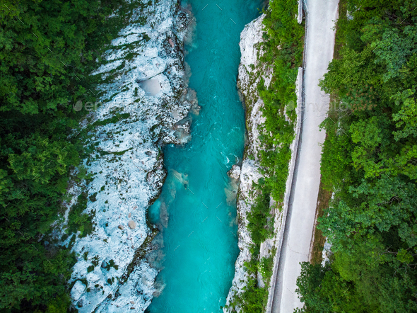 Road along Soca river in Slovenia Triglav Park, aerial view - Stock Photo - Images