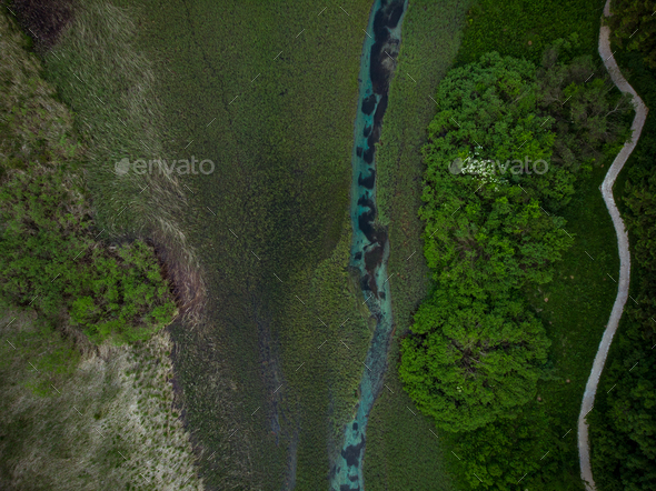 Natural pattern in Zelenci,Slovenia.Aerial drone view - Stock Photo - Images
