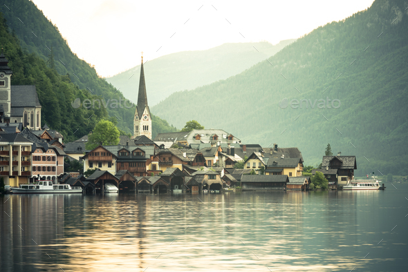 Sunrise over famous Hallstatt fisherman village, Austria - Stock Photo - Images