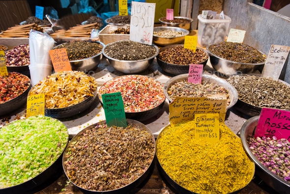 Baskets full with dried fruits, spices and herbs in Mahane Yehuda market. Jerusalem, Israel - Stock Photo - Images