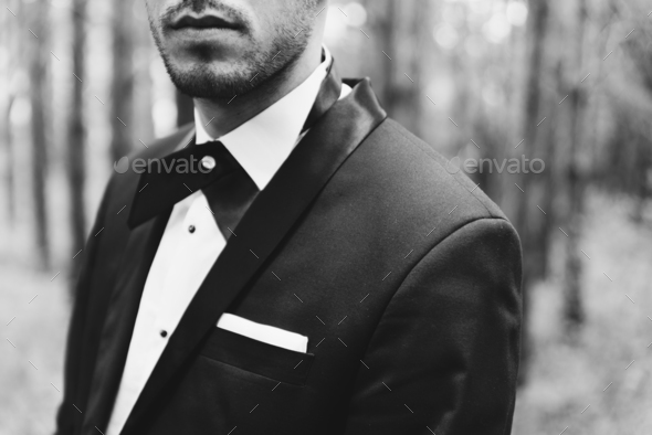 Groom at wedding tuxedo in the forest - Stock Photo - Images