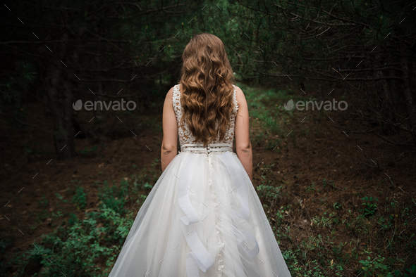 Bride in the forest - Stock Photo - Images