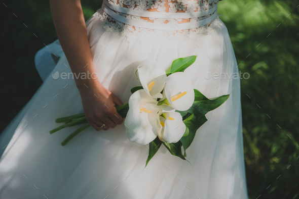 Young beautiful bride holding a bouquet. - Stock Photo - Images