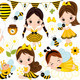 Vector Set with Girls in Bee Costume - GraphicRiver Item for Sale